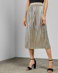 3818668ed4 Ted Baker Zainea Metallic Pleated Midi Skirt in Gray - Lyst