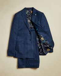 Ted Baker Sterling Wool Check Nested Suit - Blue