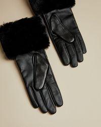 Ted Baker Fur Trimmed Gloves - Black