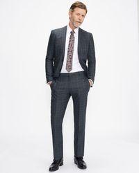 Ted Baker Pantalón De Traje Slim Fit Diseño Cuadros - Azul