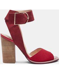 Ted Baker - Suede Stripe Heel Detail Sandals - Lyst