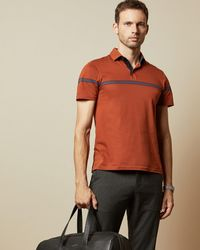 Ted Baker Cotton Striped Polo Shirt - Orange