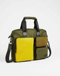 Ted Baker Satin Nylon Document Bag - Verde