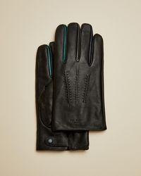 Ted Baker Contrast Detail Leather Gloves - Black