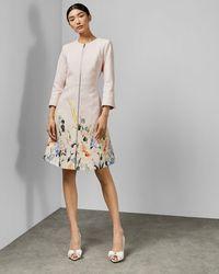 Ted Baker Vestido Abrigo Con Textura Estampado Elegant - Rosa