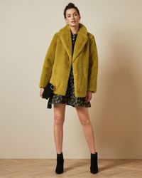 Ted Baker Double Breasted Faux Fur Coat - Yellow