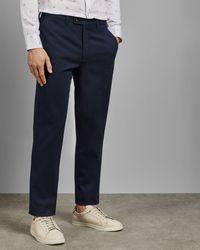 Ted Baker Pantalones Regular Fit Semilisos Con Textura - Azul