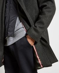 Ted Baker Wool Funnel Neck Coat - Gray