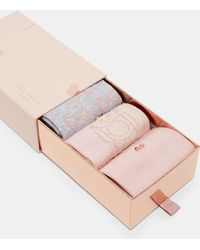 Ted Baker Robot Triple Sock Pack - Pink