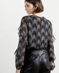 Ted Baker Ruffle Sleeve Blouse - Black