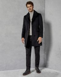 fa657e800 Ted Baker - Removable Shearling Collar Overcoat - Lyst