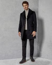 Ted Baker - Shearling Collar Overcoat - Lyst