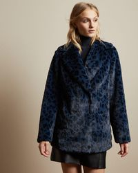 Ted Baker Leopard Print Faux Fur Coat - Blue