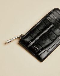 Ted Baker Metallic Leather Zip Around Wallet - Black