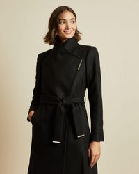 Ted Baker Wool Wrap Coat - Black