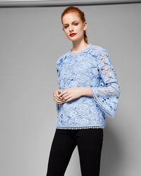Ted Baker - Lace Bell Sleeved Top - Lyst
