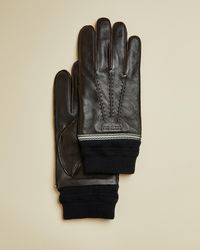 Ted Baker Webbing Cuff Leather Gloves - Brown