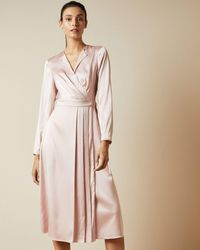 Ted Baker Side Wrap Pleated Dress - Multicolour