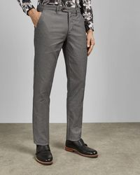 Ted Baker Pantalones De Corte Slim Con Textura - Gris