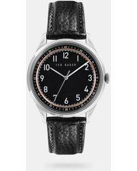 Ted Baker Reloj Esfera Redonda Correa De Piel - Negro