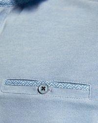 Ted Baker Woven Collar Polo Shirt - Blue