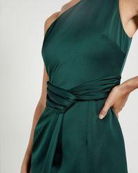 Ted Baker One Shoulder Fold Detail Midi Dress - Green