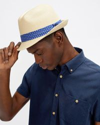 Ted Baker Straw Trilby - Natural