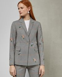 Ted Baker - Embroidered Checked Jacket - Lyst