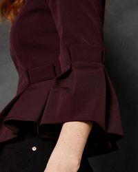 Ted Baker Peplum Crop Sleeve Jacket - Purple