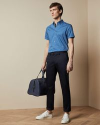 Ted Baker Slim Fit Satin Finish Chinos - Blue