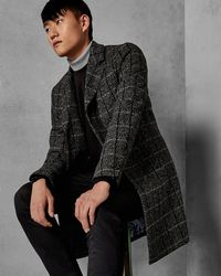 Ted Baker - Checked Wool Overcoat - Lyst