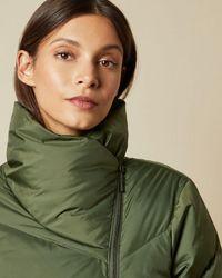 Ted Baker Gesteppter Mantel Mit Kunstfell Am Kragen - Grün