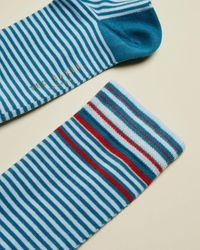 Ted Baker Cotton Striped Sock - Blue