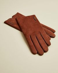 Ted Baker Suede And Leather Gloves - Brown