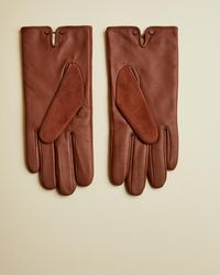 Ted Baker Suede And Leather Glove - Brown