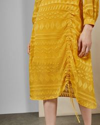 Ted Baker Safa Long Sleeve Ruched Burnout Lace Dress - Yellow