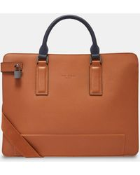 Ted Baker Leather Document Bag - Brown