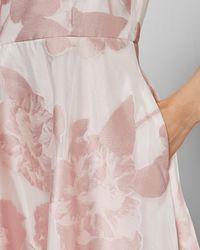 Ted Baker Ärmelloses Midikleid Mit Blumen-print - Pink
