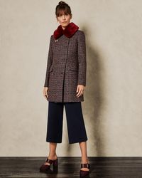 Ted Baker - Removable Faux Fur Collar Wool Pea Coat - Lyst