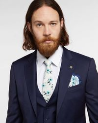 Ted Baker Printed Floral Tie - White