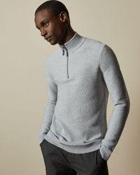 Ted Baker Half Zip Funnel Neck Sweater - Natural