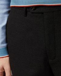 Ted Baker Textured Semi Plain Regular Fit Pants - Gray