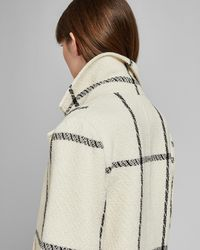 Ted Baker - Checked Wool Long Coat - Lyst