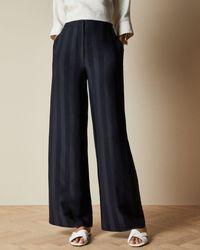Ted Baker Satin Striped Wide Leg Pants - Blue