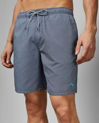 Ted Baker Geo Print Midi Swim Shorts - Blue