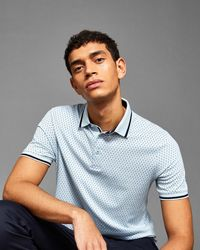 Ted Baker - Geo Print Cotton Polo Shirt - Lyst