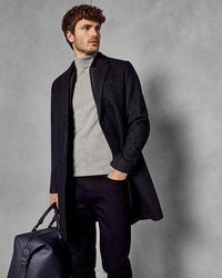 Ted Baker Wool Overcoat With Removable Inner - Azul