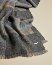 Ted Baker Checked Scarf - Gray
