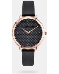 Ted Baker Scalloped Dial Leather Strap Watch - Black