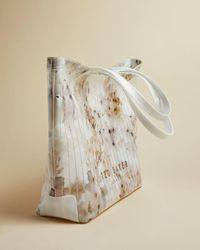 Ted Baker Sazacon Vanilla-print Large Vinyl Tote Bag - White